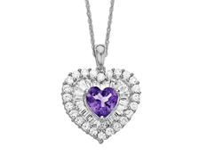 Amethyst and White Sapphire Heart Pendant in Sterling Silver