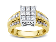 1 3/8 ct Princess-cut Diamond Ring in 14K Gold