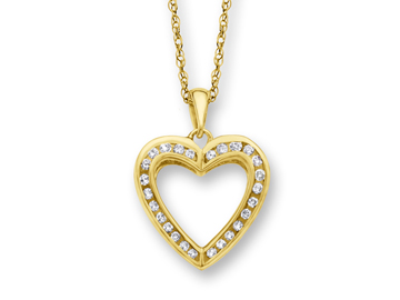 1/4 ct Diamond Heart Pendant in 14K Gold