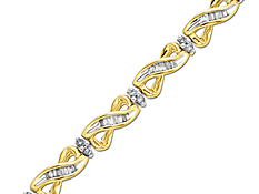 2 1/2 ct Round & Baguette-cut Diamond Bracelet in 14K Gold