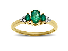 5/8 ct Emerald Ring with Diamonds in 10K Gold