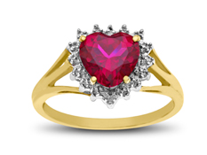Ruby Heart Ring with Diamonds in 18K Gold over Sterling Silver