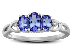 7/8 ct Tanzanite Three-Stone Ring with Diamonds in Sterling Silver