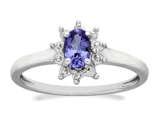 3/8 ct Tanzanite Ring with Diamonds in Sterling Silver