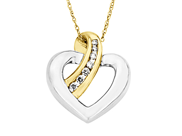 Heart Pendant Necklacein 10K Gold with Diamonds from Jewelry.com