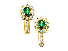 Emerald and 1/4 ct Diamond Earrings in 10K Gold