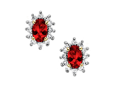 Ruby and 1/5 ct Diamond Earrings in 10K Gold