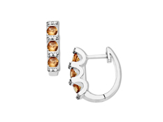 5/8 ct Padparadscha Sapphire Hoop Earrings with Diamonds in Sterling Silver