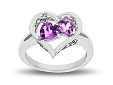 3/4 ct Amethyst and Rose de France Amethyst Heart Ring with Diamond in Sterling Silver