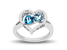 1 1/10 ct Blue and Sky Blue Topaz Heart Ring with Diamond in Sterling Silver