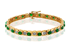 3 ct Emerald Link Bracelet with Diamonds in 10K Gold