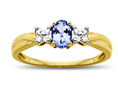 Tanzanite Ring in 10K Gold with Diamonds