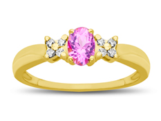 Pink Sapphire Ring in 10K Gold with Diamonds