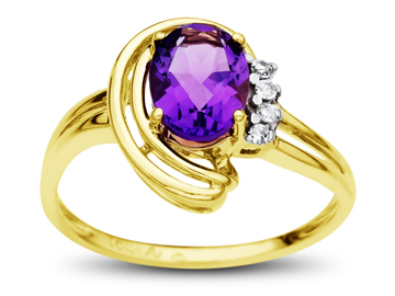 1 1/4 ct Amethyst Ring with Diamonds in 10K Gold from Jewelry.com