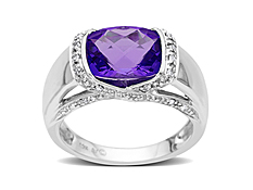 Amethyst Ring in 10K White Gold with Diamonds