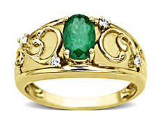 7/8 ct Emerald and Mother-of-Pearl Ring with Diamonds in 10K Gold