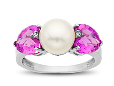 8 mm Pearl & 3 1/5 ct Pink Sapphire Ring with Diamonds in 10K White Gold