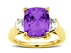 Amethyst Ring With White Topaz Accents In 10K Gold