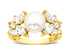 Freshwater Pearl & Created White Sapphire Ring in 10K Gold