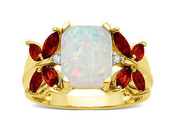 Opal and Garnet Butterfly Ring with Diamonds in 10K Gold from Jewelry. com