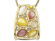 Multi-Color Mother-of-Pearl And Diamond Pendant In 10K Gold