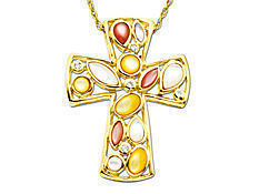 Mixed Mother-of-Pearl Cross Pendant with Diamonds in 10K Gold