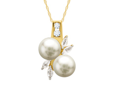7 mm Pearl and White Sapphire Pendant in 10K Gold