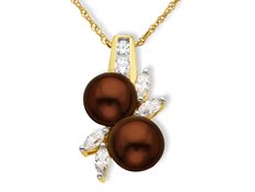 Chocolate Pearl and White Sapphire Pendant 10K Gold