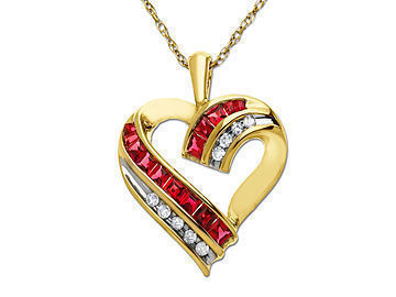 Ruby jewelry on sale for 10282012 bling bargains ruby heart pendant set in 10k gold with diamonds aloadofball Gallery