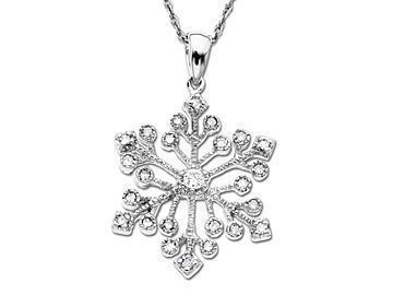 1/5 ct Diamond Snowflake Pendant in 10K White Gold