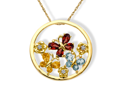 Multi-Stone Butterfly Pendant with Diamonds in 10K Gold