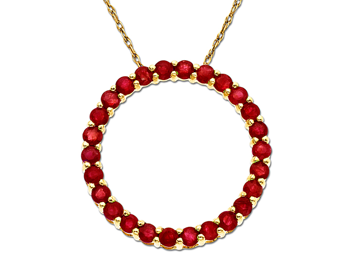 Ruby Circle Pendant Necklace in 10K Gold from Jewelry.com