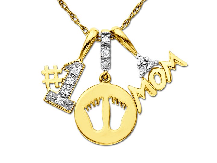 1 Mom Charm Pendant Necklace with Diamonds in 10K Gold from Jewelry.com