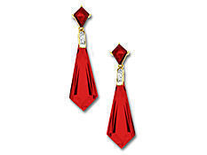 Ruby Earrings in 10K Gold with Diamonds