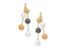 Multi-Color Pearl Earrings in 10K Gold with Diamonds