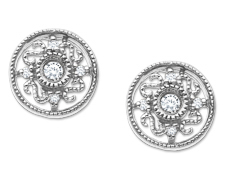 Filigree Earrings with Diamonds in 10K White Gold