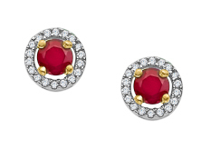 1/3 ct Ruby and 1/10 ct Diamond Stud Earrings in 10K White Gold