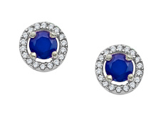 1/3 ct Sapphire and 1/10 ct Diamond Stud Earrings in 10K White Gold