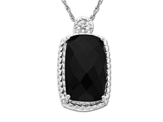 Onyx Pendant in 10K White Gold with Diamonds