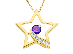 1/5 ct Amethyst Star Pendant with Diamonds in 10K Gold