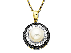Freshwater Pearl and 1/4 ct Black & White Diamond Pendant in 10K Gold