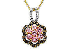 1/2 ct Pink Sapphire and 1/5 ct Champagne and White Diamond Flower Pendant in 10K Gold