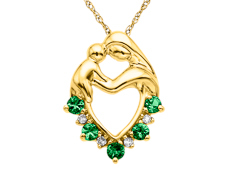 Emerald Mother's Jewel Pendant in 10K Gold with Diamonds