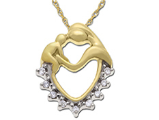 Mother's Jewel Heart Pendant with Diamonds in 10K Gold