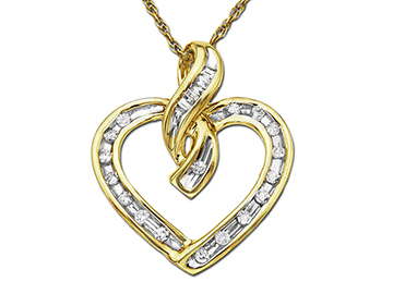 Diamond Heart Pendant in 10K Gold