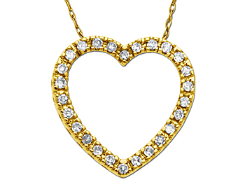 1/4 ct Diamond Heart Pedant in 10K Gold Necklace from Jewelry.com