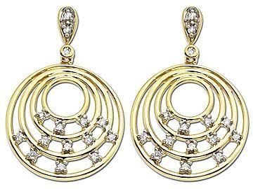 Diamond Circle Earrings in 10K Gold from Jewelry.com