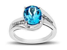 Swiss Blue Topaz Ring with Diamonds in Sterling Silver