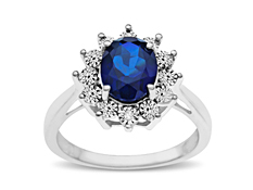2 5/8 ct Sapphire Ring with Diamonds in Sterling Silver
