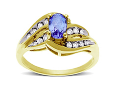 Tanzanite And Channel Set Diamond Accent Ring In 10K Gold